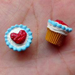 Heart Cupcake Cabochons (2pcs / 13mm x 12mm / 3D) Phone Case Deco Kawaii Earphone Plug Making Fake Miniature Sweets Dollhouse Food FCAB267