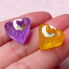 Heart Jelly Cabochons (2pcs / 15mm x 14mm / Yellow & Purple / 3D) Cellphone Deco Kawaii Dust Plug Making Dollhouse Miniature Sweets FCAB268