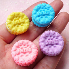 Miniature Sweet Cookie Biscuit Cabochon (4pcs / 20mm / Pastel Color / 3D) Kawaii Fimo Food Jewelry Polymer Clay Decoden Fairy Kei FCAB272