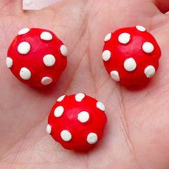 Red Mushroom Bun Cabochons (3pcs / 18mm x 13mm / 3D) Kawaii Dollhouse Food Cute Miniature Sweets Decoden Kitsch Jewelry Scrapbooking FCAB273