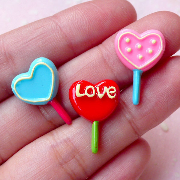 Heart Lollipop Cabochons (3pcs / 13mm x 19mm / Flat Back) Kawaii Candy Cabochon Decoden Scrapbooking Miniature Dollhouse Sweets FCAB269