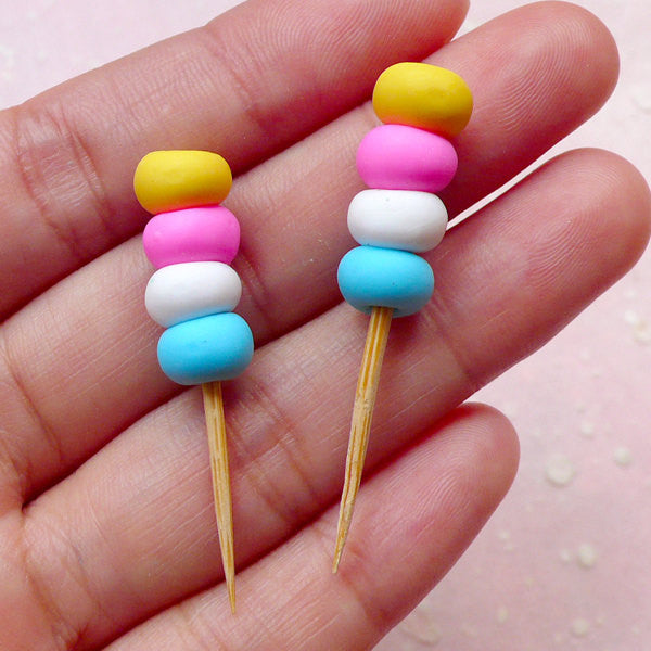 Colorful Miniature Skewer Cabochons (2pcs / 8mm x 43mm / 3D) Kawaii Polymer Clay Dollhouse Food Cute Decoden Whimsical Scrapbooking FCAB271
