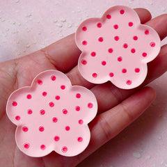 Miniature Plate Cabochons in Flower Shape (2pcs / 46mm / Pink Polka Dot / Flat Back) Cute Dollhouse Food DIY Kawaii Whimsical Jewellery MC38