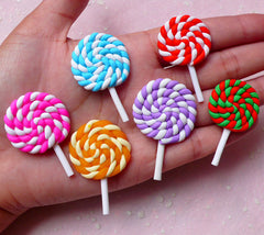 Lollipop Cabochons Set (6pcs / Colorful Mix) Kawaii Polymer Clay Miniature Candy Fimo Dollhouse Sweets Whimsical Jewelry Decoden FCAB276
