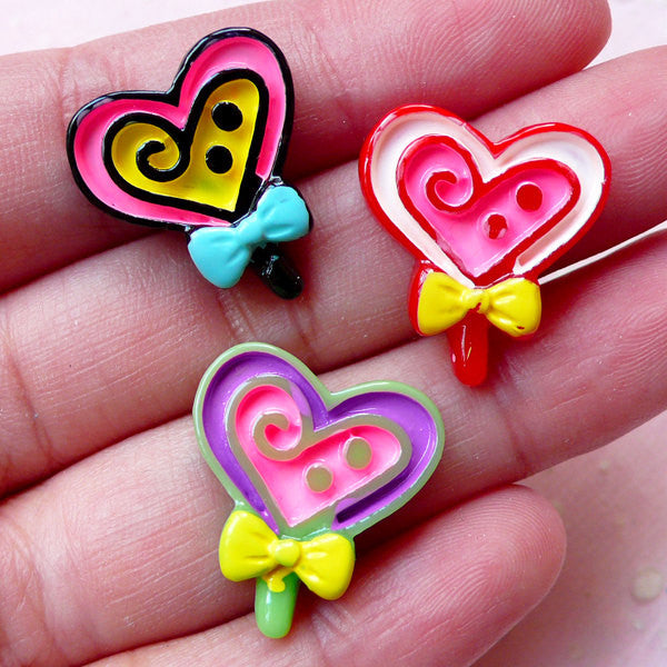 Cute Heart Lollipop Cabochons (3pcs / 18mm x 20mm / Flat Back) Decora Kei Sweets Decoden Miniature Candy Kawaii Cell Phone Deco FCAB278