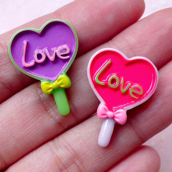 Decora Kei Cabochon / Heart Lolly Lollipop Candy Cabochons (2pcs / 17mm x 23mm) Miniature Sweets Cellphone Deco Kawaii Decoden Piece FCAB279