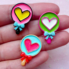 Lollipop Cabochons w/ Heart & Ribbon (3pcs / 17mm x 26mm / Flat Back) Miniature Candy Dollhouse Sweets Kawaii Decora Kei Decoden FCAB280