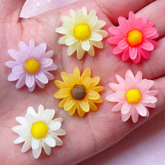 Chrysanthemum Chrysanths Mums Flower Cabochons (6pcs / 23mm / Flat Back) Phone Case Deco Kawaii Decoden Scrapbooking Floral Jewellery CAB357