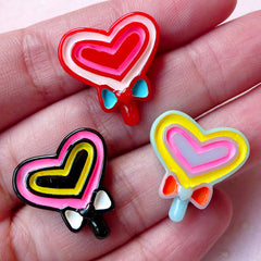 Kawaii Heart Lollipop Cabochons (3pcs / 19mm x 20mm / Flat Back) Miniature Sweets Dollhouse Candy Decora Kei Phone Case Deco Decoden FCAB277