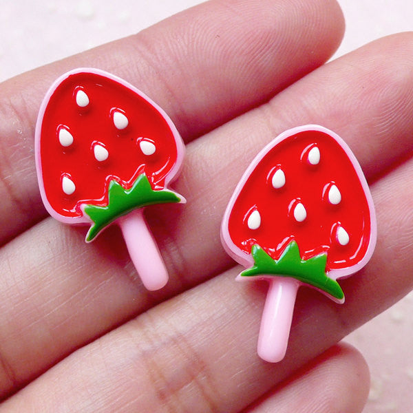 Kawaii Strawberry Lollipop Cabochons (2pcs / 16mm x 25mm / Flat Back) Miniature Sweets Dollhouse Fruit Candy Scrapbooking Decoden FCAB281
