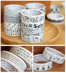 Kawaii Deco Tape / Black and White PVC Tape (1 pc BY RANDOM) Cute Scrapbooking Card Making Gift Wrap Product Packaging Party Diary Deco WR12