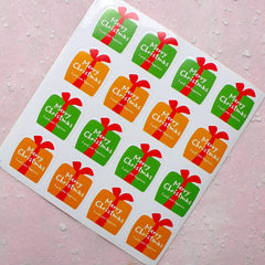 Merry Christmas Sticker in Gift Box Shape (32pcs) Christmas Favor Seal Gift Decoration Product Packaging Christmas Party Favor Tag S221
