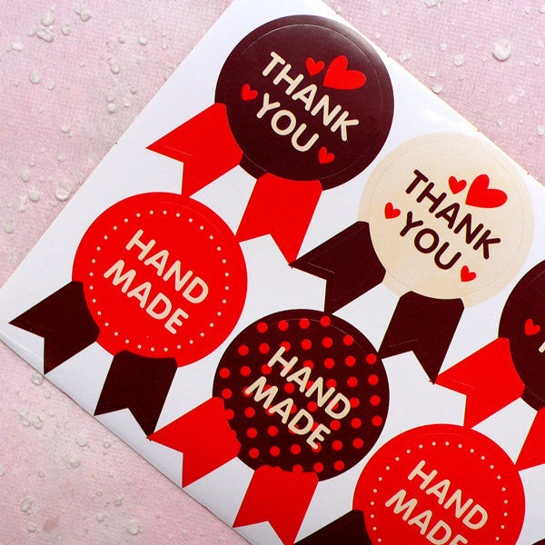 Cute Hand Made Sticker / Thank You Sticker in Badge Shape (16pcs) Kawaii Gift Decoration Party Favor Seal Handmade Product Packaging S218