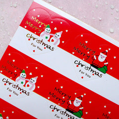 Santa Claus & Snowman Stickers with Gold Foil Print Merry Christmas in Heart Shape (24pcs) Christmas Gift Sticker Party Favor Seals S224