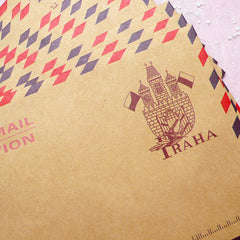 "Kraft Paper Envelopes (10pcs / Praha) (11cm x 16.2cm / 4.4"" x 6.48"") Vintage Czech Republic Triangle Flap Party Invitations Card S226"