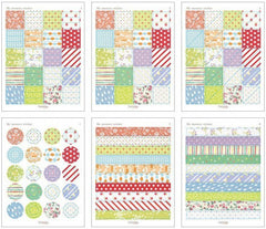 Korean Deco Sticker / My Memory Sticker by Dailylike (6 Sheets) Floral Polka Dot Raindrop Strips Masking Sticker Kawaii Scrapbooking S229