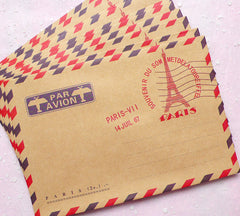 "Paris Kraft Paper Envelopes (10pcs / Eiffel Tower) (11cm x 16.2cm / 4.4"" x 6.48"") Vintage France Triangle Flap Party Invitations S228"