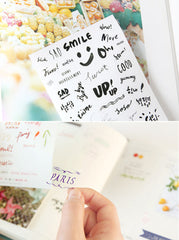 Calligraphy Sticker / Clear Sticker by Petit Deco from Korea (8 Sheets) Scrapbook Diary Decoration Collage Packaging Expression Message S237