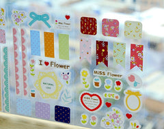 Deco Stickers (3 Sheets / Flower) Cute Scrapbooking Kawaii Diary Deco Lace Floral Nature Collage Card Making Home Decor Packaging S238