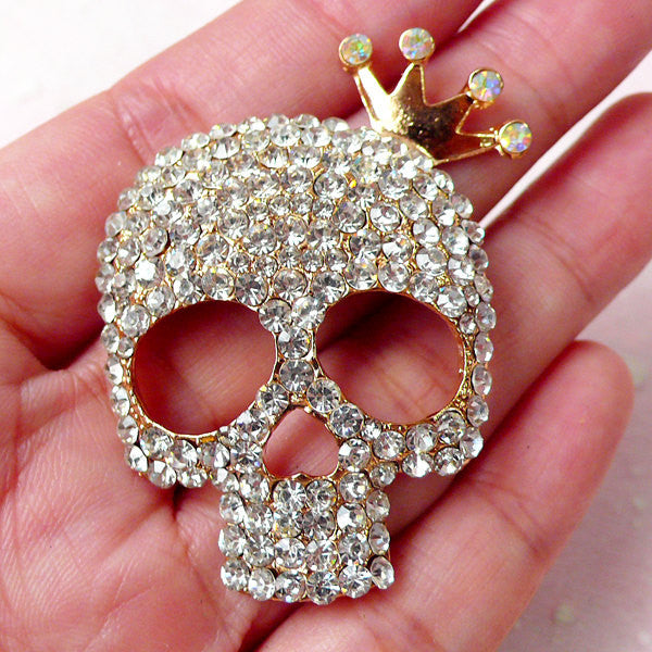 Bling Bling Skull Cabochon with Crown & Rhinestone / Large Alloy Metal Skull Cab (37mm x 48mm) Kawaii Phone Case Decoden Sweet Gothic CAB358