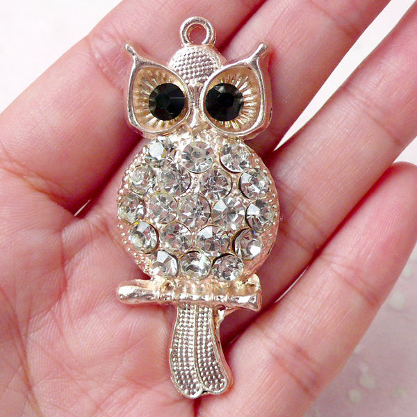 Bling Bling Owl Cabochon / Charm with Rhinestones (24mm x 56mm) Animal Bird Decoden Handbag Charm Pendant Keychain Keyring Making CAB361
