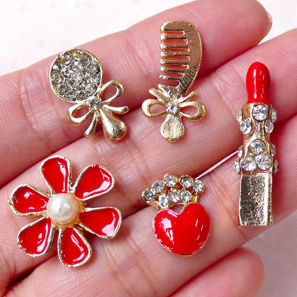 Bling Bling Decoden / Beauty Cabochon with Rhinestones (5pcs / Comb Mirror Flower Lipstick Heart Crown) Phone Case Deco Earrings DIY CAB365