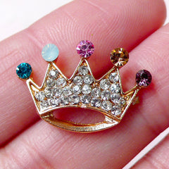 Kawaii Crown Cabochon w/ Bling Bling Rhinestones (22mm x 15mm / Flat Back) Cell Phone Deco Scrapbook Collage Jewellery Earring DIY CAB367