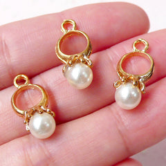 Mini Pearl Ring Charms / 3D Ring Charm with ABS Pearl (9mm x 19mm / 3pcs / Gold & Cream) Cute Earring Bracelet Handbag Zipper Pull CHM806