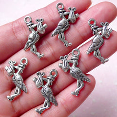CLEARANCE Stork Charm (6pcs / 18mm x 23mm / Tibetan Silver / 2 Sided) White Stork Ciconia Bird New Born Baby Shower Favor Tag Earring Bracelet CHM812