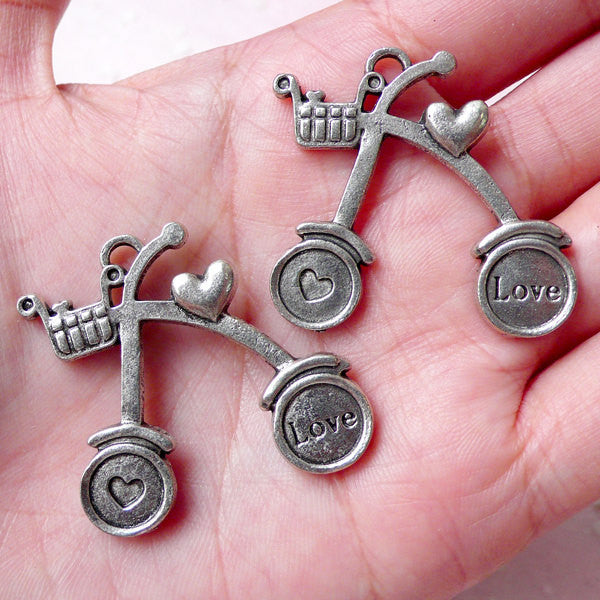 Bike Charm / Shopping Bicycle Charms (2pcs / 33mm x 32mm / Tibetan Silver) Cycle Biking Cycling Pendant Bracelet Zipper Pull Key Ring CHM813