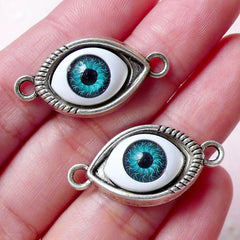 Evil Eye Charm / Bracelet Connector (2pcs / 30mm x 15mm / Tibetan Silver) Turkish Nazar Greek To Mati Stink Eye Hamsa Ancient Culture CHM815