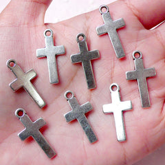 Religious Charm Larin Cross Charms (8pcs / 13mm x 25mm / Tibetan Silver) Catholic Christian Jewellery Bible Bookmark Christmas Charm CHM830