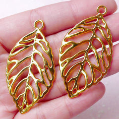 Large Leaf Charm / Bracelet Connector (2pcs / 26mm x 48mm / Gold) Outline Floral Jewellery Earring Pendant Pouch Zipper Pull Bookmark CHM846