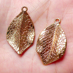 3D Leaf Charm (2pcs / 20mm x 33mm / Gold / 2 Sided) Floral Jewelry Earring Pendant Bracelet Necklace Pouch Zipper Pull Bookmark DIY CHM858