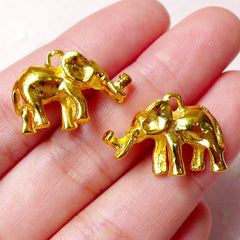 3D Elephant Charms (2pcs / 22mm x 15mm / Gold / 2 Sided) Kawaii Bracelet Exotic Animal Jewellery Earring Pendant Zoo Africa Safari CHM859