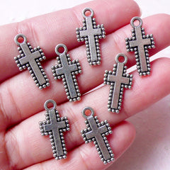 CLEARANCE Mini Christian Cross Charms (7pcs / 10mm x 20mm / Tibetan Silver / 2 Sided) Religious Catholic Jewellery Christmas Party Favor Charm CHM870