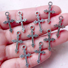 Tiny Latin Cross Charms Christian Charm (10pcs / 12mm x 21mm / Tibetan Silver / 2 Sided) Religious Catholic Mini Christmas Ornament CHM869