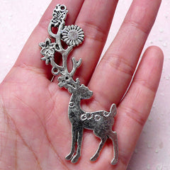 Large Reindeer / Big Deer Charm (1 piece / 37mm x 69mm / Tibetan Silver / 2 Sided) Whimsical Animal Charm Christmas Party Decoration CHM879
