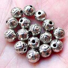 Evil Eye Beads / Spacer (12pcs / 6mm / Tibetan Silver / 2 Sided) Turkish Nazar Greek Mati Stink Eye Hamsa Ancient Religious Beads CHM888