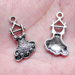 Party Dress Charm on a Hanger (6pcs / 12mm x 22mm / Tibetan Silver) Party Favor Charm Wine Charm Supplies Party Animal Bracelet CHM877