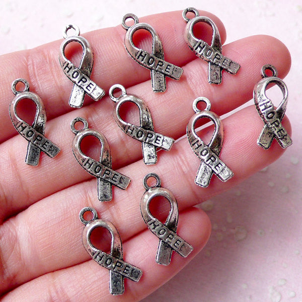 Cancer Awareness Ribbon Charms / Hope Ribbon Charm  (10pcs / 8mm x 18mm / Tibetan Silver) Breast Cancer Ribbon Courage Fight Support CHM904