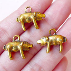 3D Pig Charm Boar Charms Piggy Charm Piglet Charm (3pcs / 18mm x 15mm / Antique Gold / 2 Sided) Farm Animal Pendant Earring Bracelet CHM894