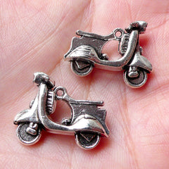 3D Vespa Scooter Charms Motorcycle Motorbike Moped Charm (2pcs / 23mm x 18mm / Tibetan Silver / 2 Sided) Pendant Bracelet Retro Charm CHM917