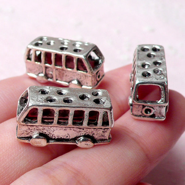 3D Bus Beads (3pcs / 20mm x 10mm / Tibetan Silver / 2 Sided) Miniature Dollhouse Transportation Whimsical Bracelet Necklace Pendant CHM918