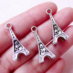 3D Eiffel Tower Charms (3pcs / 11mm x 26mm / Tibetan Silver) Paris Charm Bracelet Pendant Necklace Home Decor Keychain Bookmark Charm CHM912