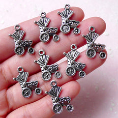 Baby Stroller Charm / Baby Carriage Charms / Baby Pram Charm (8pcs / 14mm x 19mm / Tibetan Silver) Baby Shower Favor Charm Decoration CHM926