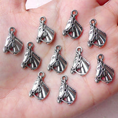 Horse Charms / Horse Racing Horse Riding Charm (10pcs / 12mm x 17mm / Tibetan Silver) Horse Club Jewelry Wine Glass Charm Favor Charm CHM944