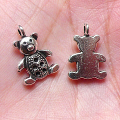 Little Bear Toy Charms (10pcs / 10m x 15mm / Tibetan Silver) Cute Animal Doll Charm Bracelet Earring Pendant Necklace Add on Charm CHM971