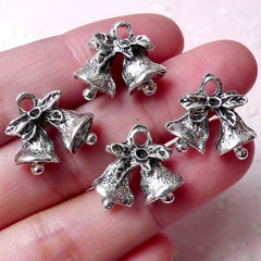 3D Christmas Bell Charms (4pcs / 17m x 15mm / Tibetan Silver / 2 Sided) Christmas Ornament Miniature Christmas Tree Decor Wine Charm CHM962