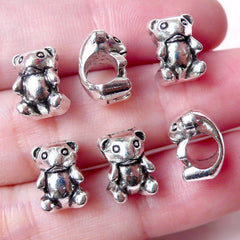 Toy Bear Beads (6pcs / 8mm x 10mm / Tibetan Silver) Large Big Hole Bead Leather Bracelet Baby Shower Favor Charm Gift Decoration CHM977